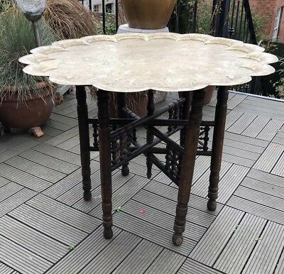 Large C1900 ANTIQUE Anglo/Indian COLONIAL folding CAMPAIGN table MAHOGANY BRASS