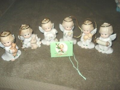 6 Ceramic Angel Holding Cat Rabbit Bird dog Lamb Accordion Christmas Ornament