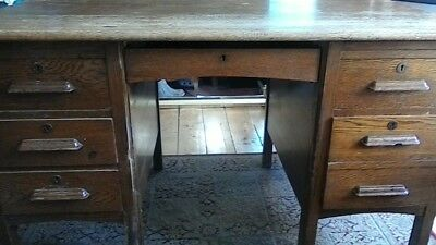 Vintage Large Solid Pine Teacher's Desk with 6 Drawers, Beautiful
