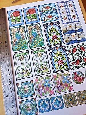 STAINED GLASS WINDOWS self adhesive dolls house 1:12th 1:24th 1:48th scales set1