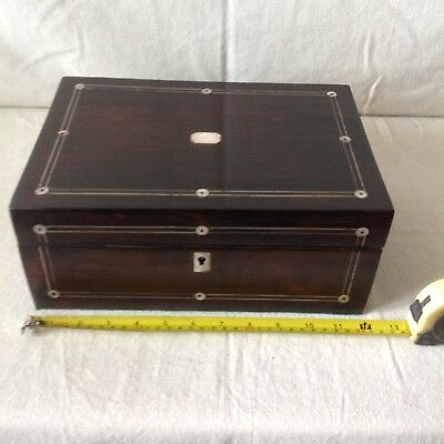 Elegant Antique Sewing/jewellery Box With Pewter Stringing