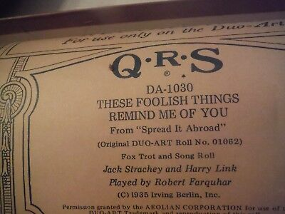 Duo-Art roll from QRS -- These Foolish Things Remind Me Of you. DA 1030