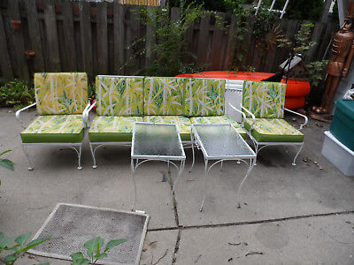 VINTAGE 50'/60 S WROUGHT IRON WOODARD PATIO SET SOFA 2 Chairs 2 Tables VGC