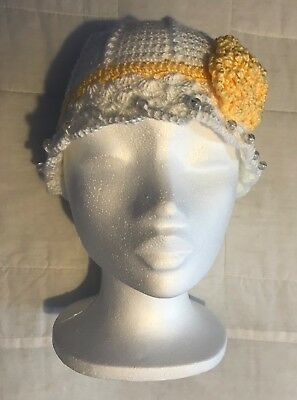 Handmade crochet hat size 20.5″, white, girls