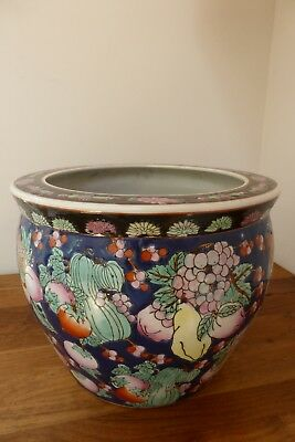 Chinese planter, 17cm tall, vgc, blue ground, koi inside, red stamp on base