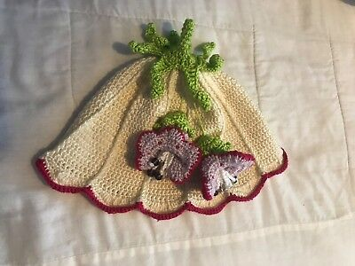 Handmade crochet hat size 22.5″, flower decoration , girls