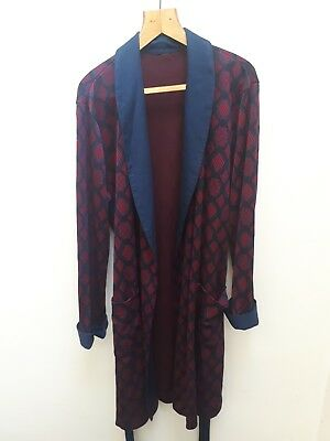 1960s Smoking Jacket Night Robe Dressing Gown Chain Pattern Large