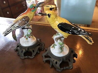 Pair of French Antique Samson & CO Porcelain Bird Figurine groups - brass mounts