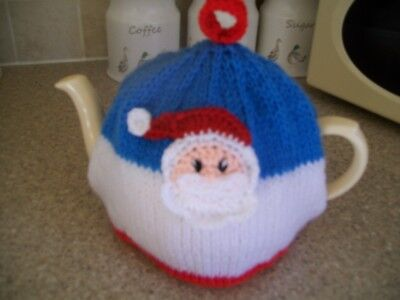 Hand Knitted Father Christmas Tea Cosy For A Medium Teapot