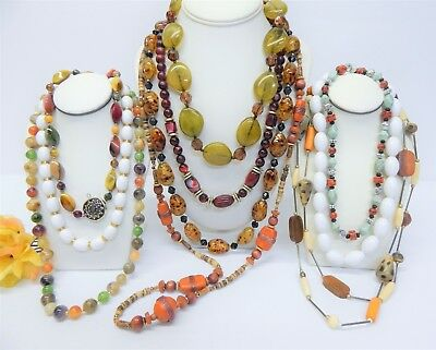 Vintage To Now Colorful Beaded Costume Jewelry Necklace Lot