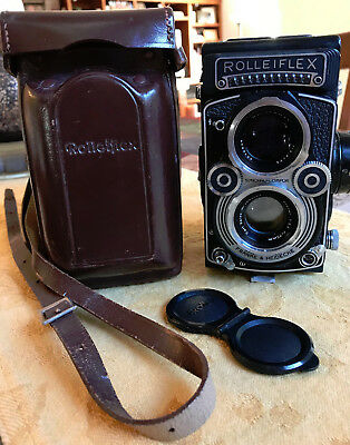 Rolleiflex Synchro-Compur Camera Planar 3.5f w/ Leather Case Excellent Condition
