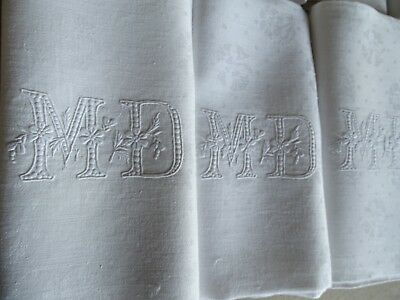 9 XXL  Antique French Linen Damask Napkins - Beautiful MD Monogram - 39 x 28.5""