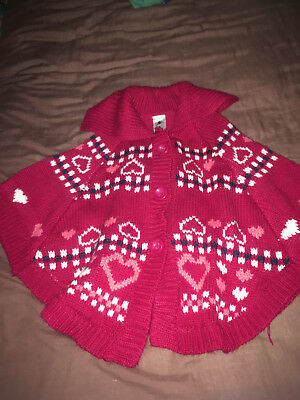 Girl Dark Pink/ Red Collared Poncho /cape - Size 5