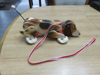 Vtg 1961 Fisher Price SNOOPY Wooden Pull Toy Dog with Original Leash #181 Works