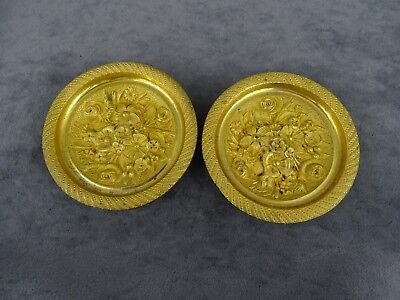 Lovely Pair French Antique Round Gilt Bronze Curtain TieBacks Medallions 19th