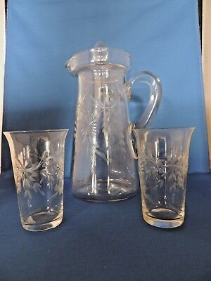 Vntg  Antique Wheel Cut Glass Juice Pitcher With Lid And Glasses Floral Leaves