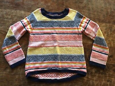 Girls Gap Sweater Size 5 Red Yellow Pink Blue Stripes Fall Colors