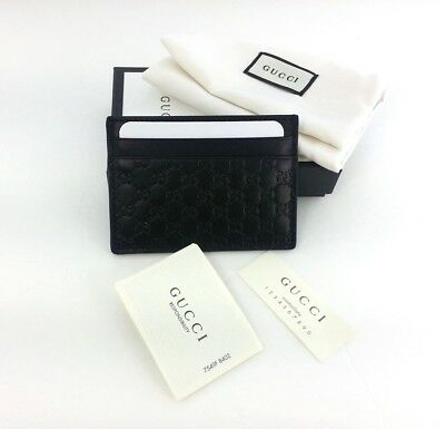 ba2fd4abeee AUTHENTIC GUCCI MICRO Guccissima Black Leather Card Case Card Holder ...