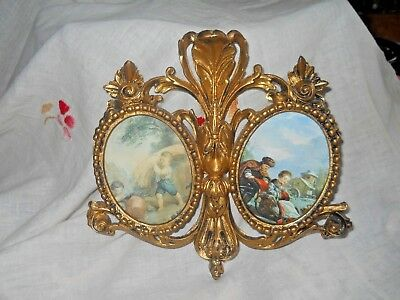 Charming Vintage Ornate Gold Gilt Double Oval Picture Frame ITALY Children