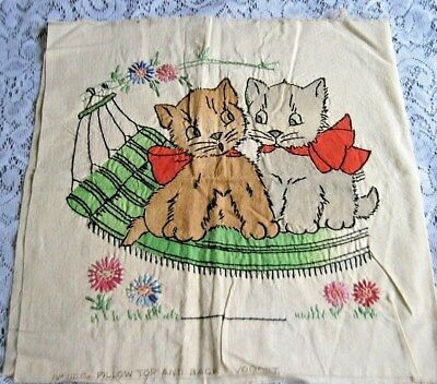 Vintage VOGART Completed TINTED EMBROIDERED KITTENS Pillow Top & Back