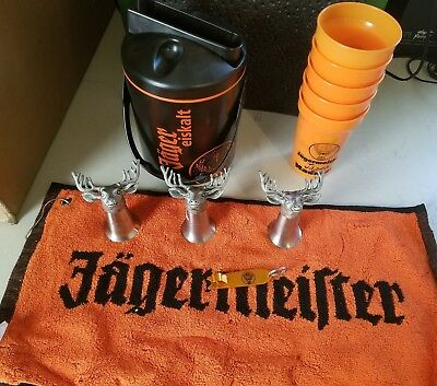 Jagermeister Lot Metal Deer shotglass ice bucket towel bottle opener jagerbomb