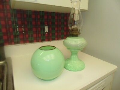 WOW! Antique Colored Pattern Glass Kerosene Lamp w/Chimney&Shade