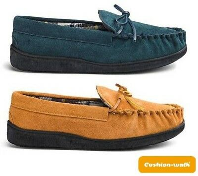 New Mens Slip On Real Suede Leather Mocassins Slippers Warm Comfy UK Sizes 7-12
