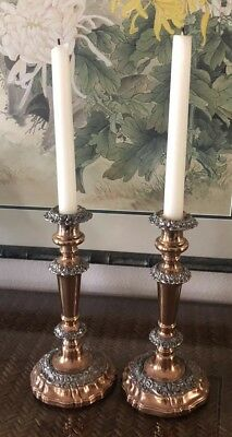 Antique Pair Of Ornate Silver Plate And Copper Candlesticks/Candles Holders 9.5""