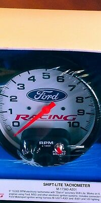 FORD RACING LOGO AUTOMETER  SHIFT-LITE TACHOMETER WHITE Early Bronco Mustang