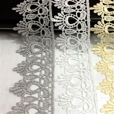 1 Yard Crochet Embroidered Lace Trim Ribbon Applique Wedding Dress Sewing DIY