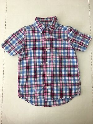The Childrens Place Boys Mediun 7/8 Short Sleeve Button Up Plaid Blue Neon