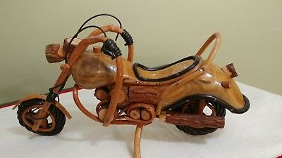 Wooden Miniature Motorcycle  Handcrafted  Model Carved Sculpture