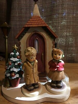 """Hummel Figurines And Scape """"Christmas Carolers"""" #845 & #2181 Light Works"""
