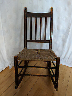 Antique Primitive Wood Sewing Nursing Rocking Chair Woven Wicker Seat Late 1800s