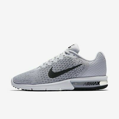 Nike Air Max Sequent 2 Pure Platinum Black White 852461-002 Men's Running Shoes