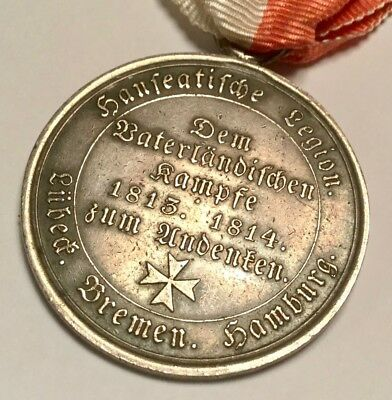 Scarce Hanseatic League Napoleonic Wars Military Medal, 1813-1814, Silver