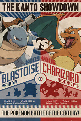 Pokemon Red v Blue Gaming Anime Maxi Poster Print 61x91.5cm | 24x36 inches