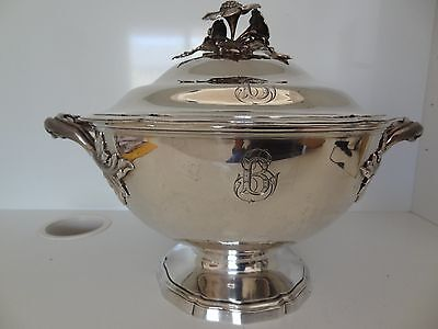 ANTIQUE FRENCH NAPOLEON III ERA   STERLING  SOUP TUREEN 1969 gm