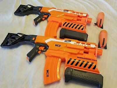 Lot of 2 Nerf Guns N-STRIKE ELITE DEMOLISHER 2-IN-1 Tested Work Great VGC