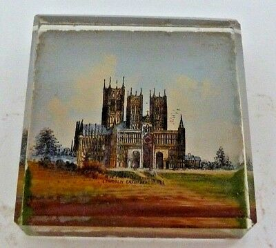 Antique Victorian Paperweight Of Lincoln Cathedral
