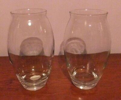 """A Pair of Large Weighted Bottom Glass Vases. Approx 9"""" Tall. Excellent Condition"""