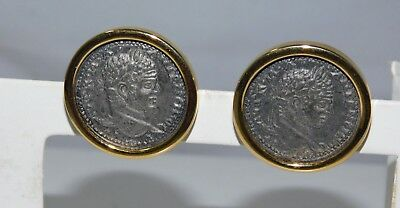 Carolee Vintage Alexander the Great Coin style Button Clip on Earrings 8a 54