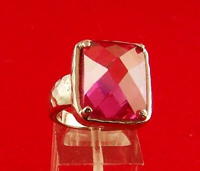 Pink Cubic Zirconia Sterling Silver Ring Size 7½ (65126)