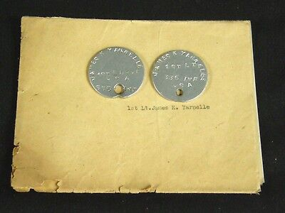 WWI US Army Dog tags 1st Lt. Yarnelle 335th Infantry w/ discharge papers WW1 AEF