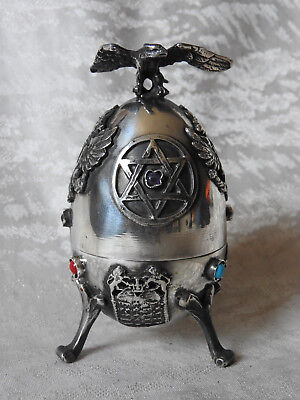 Russian silver jewish egg with Jew 1878 Ag 84