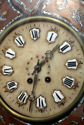 Antique French Clock Ox Eye Chime Wall Clock ebonized wood and mother-of-pearl