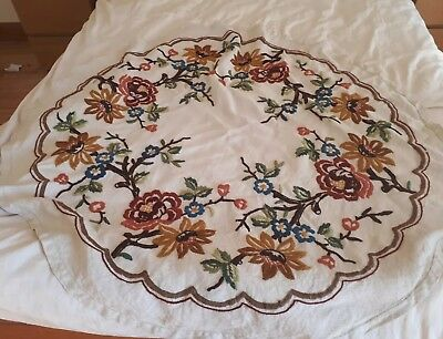 Vintage Linen Hand Embroidered Tapestry Circular Tablecloth Dramatic Floral