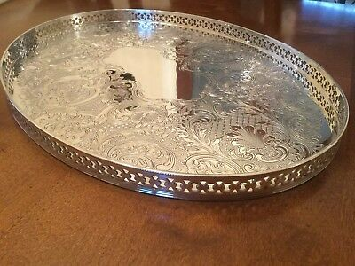 Superb Vintage Mappin And Webb Silver Plated Chased Galleried Drinks Tray