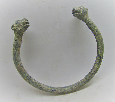 Ancient Luristan Bronze Bracelet With Panther Head Terminals Rare