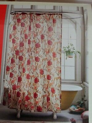 Opalhouse Target Brown Orange Floral Fabric Shower Curtain New Store Return